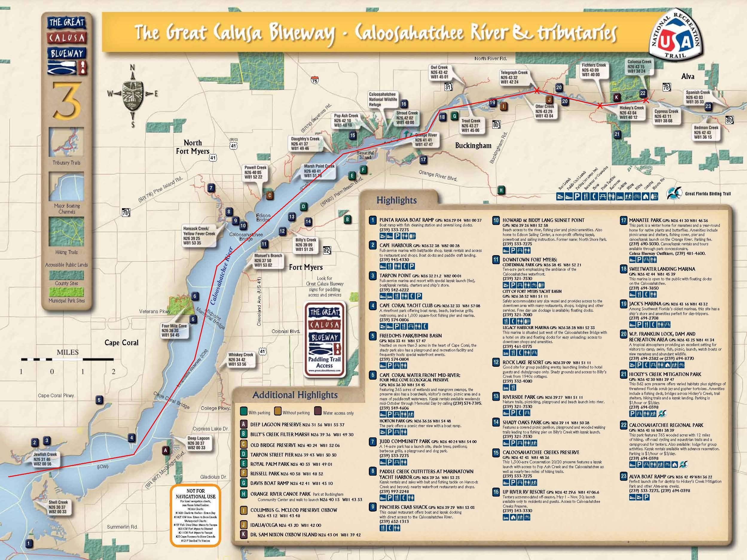 Paddle 1 calusa blueway map 3 caloosahatchee river and for Caloosahatchee river fishing